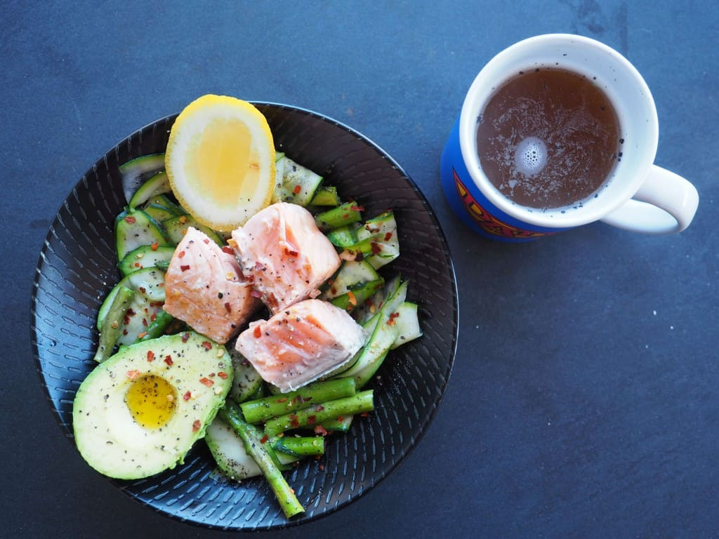 Salmon & Zucchini Ribbons + Organic Bone Broth