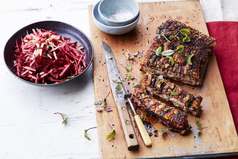 roasted pork belly with beetroot slaw